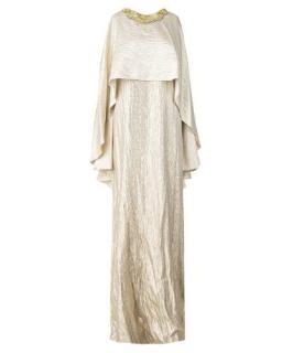 Oscar De La Renta Gold Silk Beaded Neckline Cape Top Gown