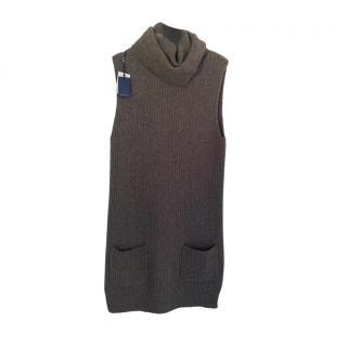 Ralph Lauren Grey Riibbed Knit Roll Neck Vest
