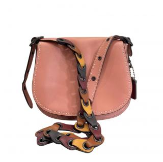 Coach Pink Leather Crossbody Saddle Bag