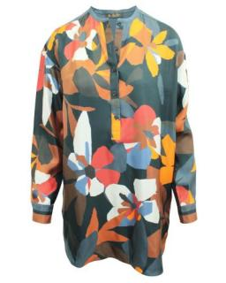Loro Piana Multicolor Print Silk Oversized Shirt