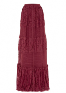 Temperley Dark Red Constance Lace Panelled Skirt