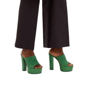 Givenchy Green Look Book Ribbed leather platform mules