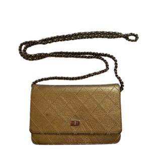 Chanel Gold Quilted Leather Wallet on Chain