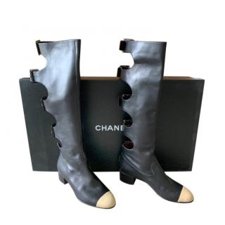 Chanel black leather cut out knee booots