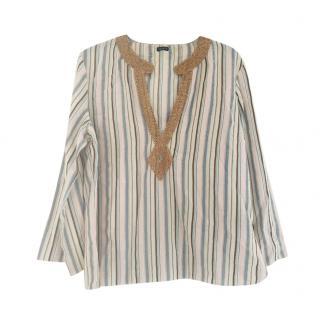 Joseph Striped Linen Embellished Tunic