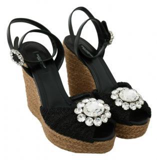 Dolce & gabbana Black Raffia Wedge Crystal Embellished Sandals