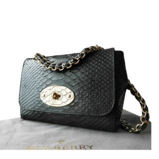 Mulberry Black Snakeskin Embossed Medium Cecily Shoulder Bag