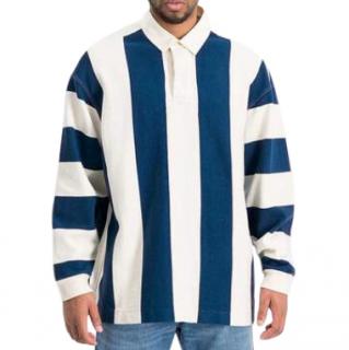 YMC Blue/Ecru JJ Jersey Rugby Shirt