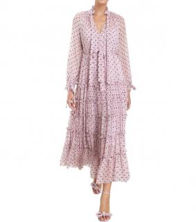 Zimmermann Ninety-Six Neck Tie Dress Lilac Dot