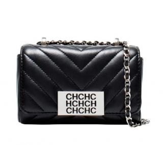 CH Carolina Herrera Black Chevron Small Bimba Bag