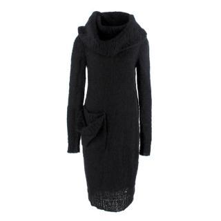 Alexander McQueen Black Open Knit Mohair Blend Cowl Neck Dress