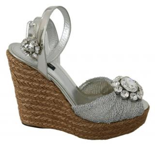 Dolce & Gabbana embellished silver ankle strap wedge sandals