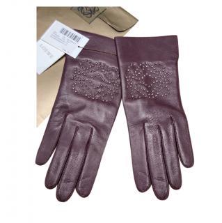 Loewe Burgundy Leather Studded Gloves - Size 7.5