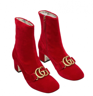 Gucci red suede Victoire 55 GG ankle boots