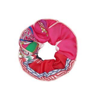 Hermes Printed Silk Claudia Hair Scrunchie