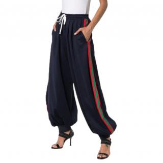 Gucci Navy Blue Technical jersey pants with Web Detail