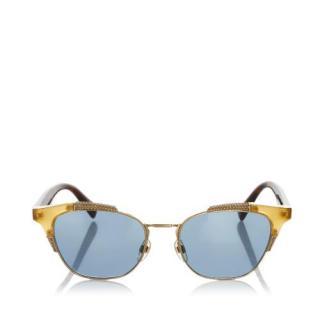 Valentino Tinted Lens Half-Rim Cate Eye Sunglasses