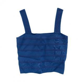 Sando Blue Stretch Fitted Crop Top