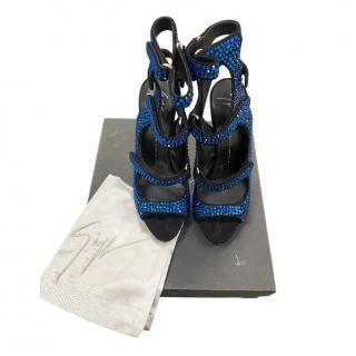 Giuseppe Zanotti Blue Crystal Cut-Out Sandals