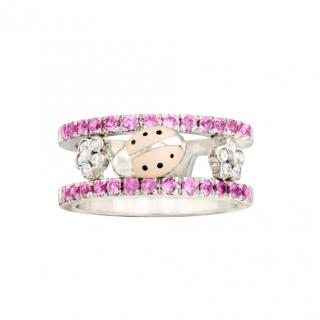Aaron Basha 18ct White Gold Ladybird Pink Sapphire & Diamond Ring