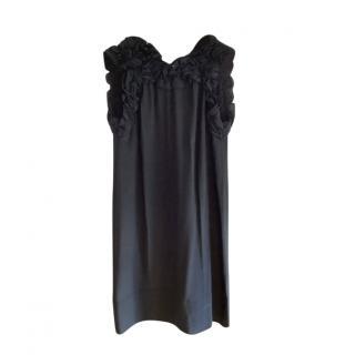 Maje Silk Ruffle Neck Dress