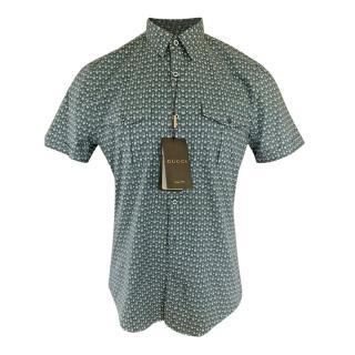 Gucci G Abstract Print Short Sleeve Mens Shirt