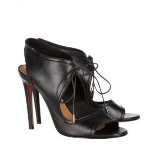 Aquazzura Chelsea Black Leather Cut-Out Sandals