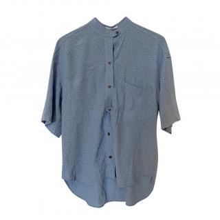 Equipment Femme Spotted Blue Short Sleeve Blouse