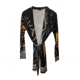 Etro Cashmere & Silk Floral Print Wrap Cardigan