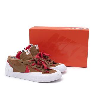 NIKE Sacai x Blazer British Tan & University Red Mid-High Sneakers