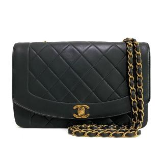 Chanel Vintage Black Smooth & Quilted Leather Diana Bag