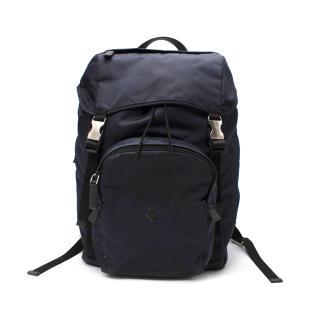 Prada Leather Trimmed Navy Nylon Backpack