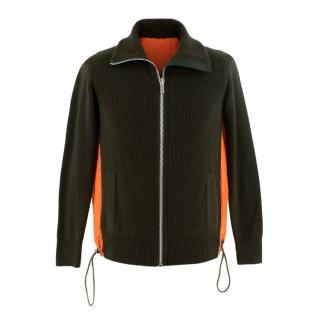 Reyn Spooner x Sacai Khaki & Orange Knit Zip Up Embroidered Jacket