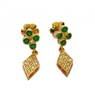 Bespoke emerald and diamond earrings