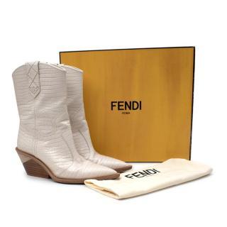 Fendi Cream Leather Embossed Cowboy Boots