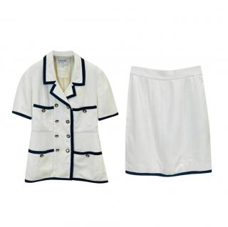 Chanel Boutique White & Black 80's Vintage Skirt Suit