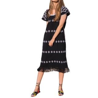 Pippa Holt Black & White Fringed Midi Kaftan