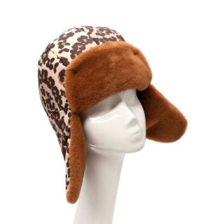 Fendi Shearling-Trimmed Leopard Print Shell Hat