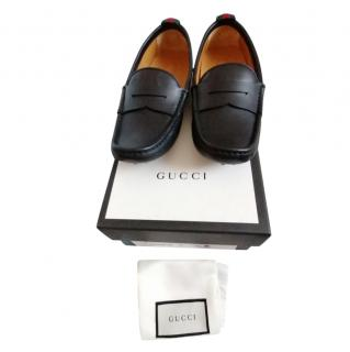 Gucci Kids' UK2 Black Grained Leather Loafers
