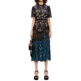 Self Portrait Blue Prairie Guipure Lace Midi Dress