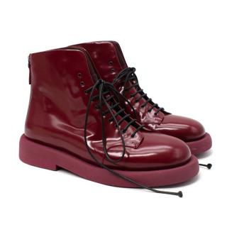 Marsell Shiny Leather Gommello Lace Up Ankle Boots
