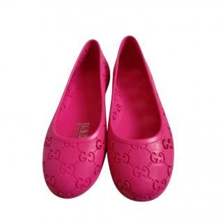 Gucci Pink Girls GG Cut-Out Ballerinas - Kids UK 12.5