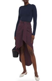 Paper London Salvadore asymmetric wrap-effect gingham twill skirt