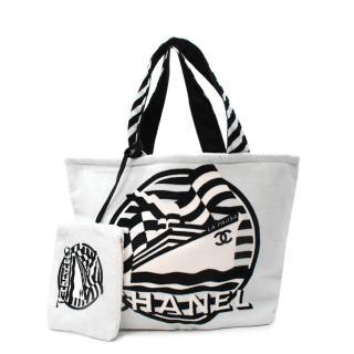 Chanel La Pausa 2010 White Cotton Beach Tote Bag