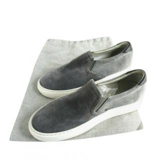 Brunello Cucinelli Suede & Canvas Grey Slip-On Sneakers