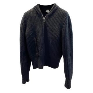 Hermes Black Ribbed Cashmere Zip Cardigan