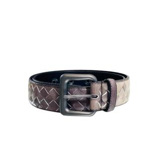 Bottega Veneta grey/white ombre woven leather belt