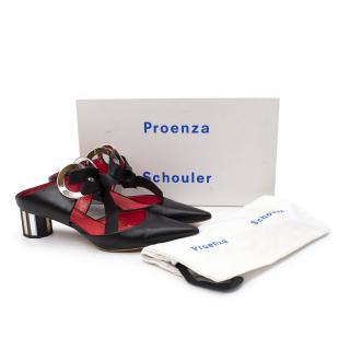 Proenza Schouler Black Grommet Block Heel Mules