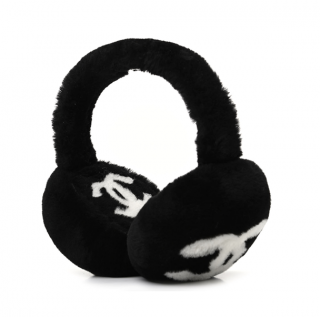 Chanel Black & White CC Shearling Ear Muffs - Sold Out