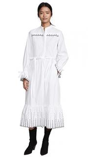See By Chloe White Embroidered Cotton Poplin Dress
